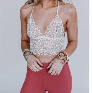 New Sexy 🔥 Crochet Lace Bralette White S/M/L